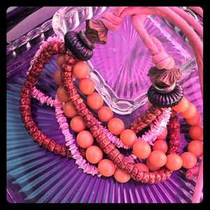 Bright Pink & Orange Mixed Material Necklace
